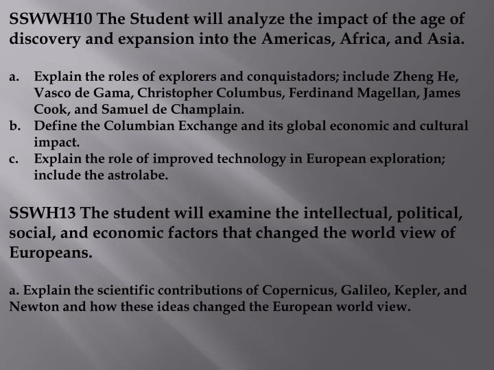 SSWWH10 The Student will analyze the impact of the age of discovery and expansion into the Americas, Africa, and Asia.