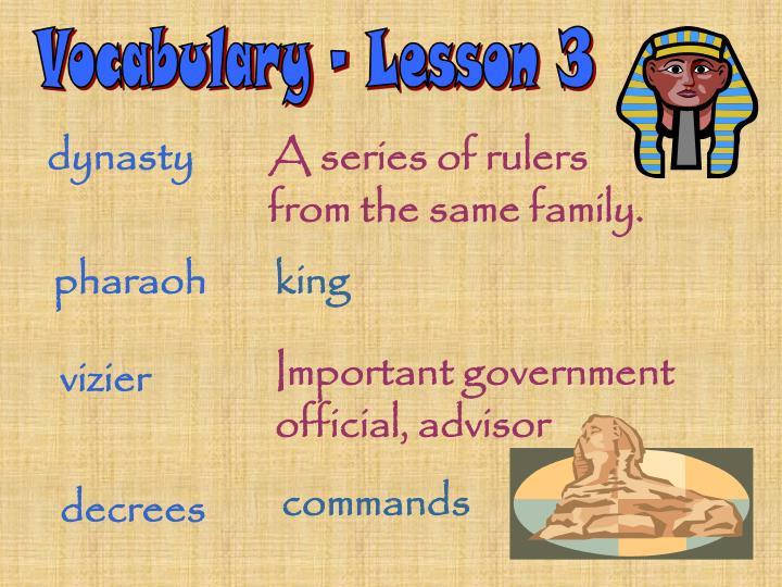 Vocabulary - Lesson 3