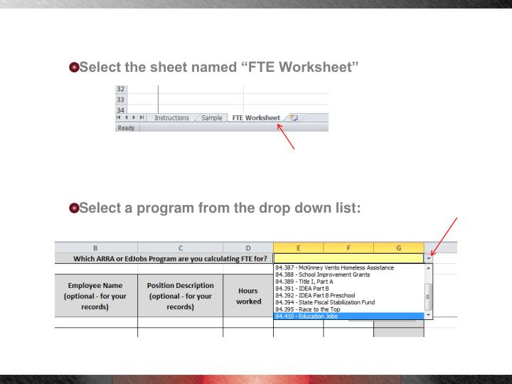 "Select the sheet named ""FTE Worksheet"""