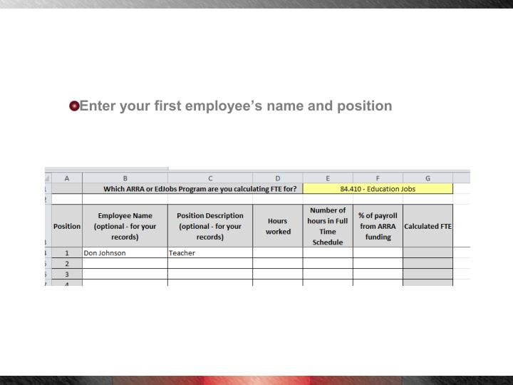Enter your first employee's name and position