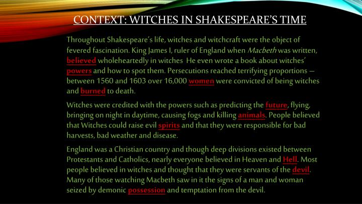 Context: Witches in Shakespeare's time
