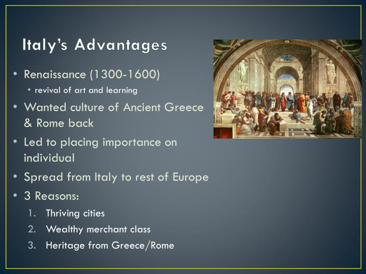 Italy s advantages