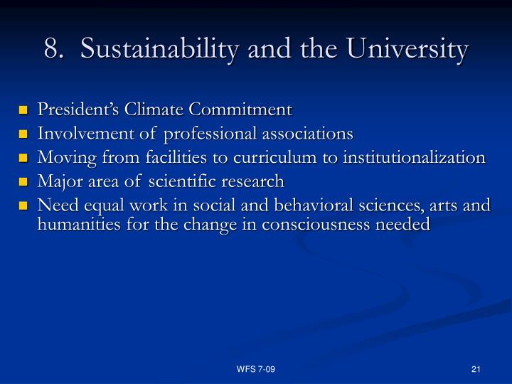8.  Sustainability and the University