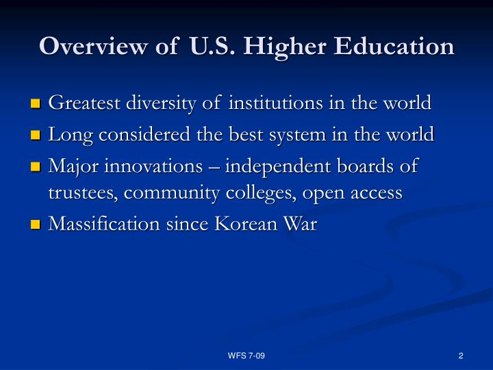 Overview of u s higher education