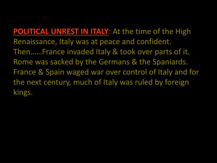 POLITICAL UNREST IN ITALY