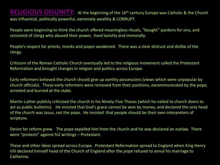 RELIGIOUS DISUNITY