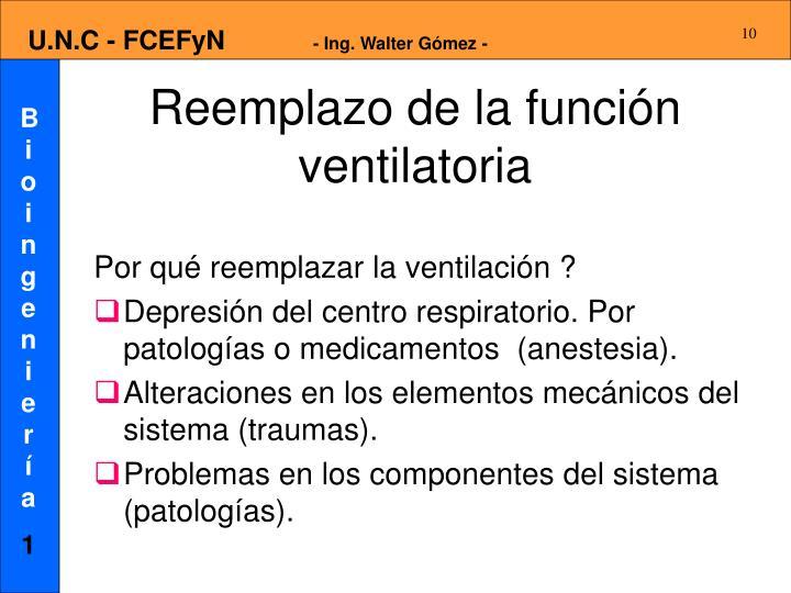 Reemplazo de la función ventilatoria