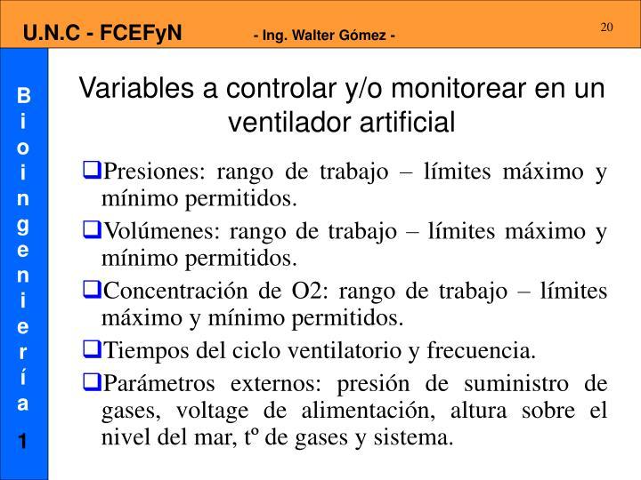 Variables a controlar y/o monitorear en un ventilador artificial