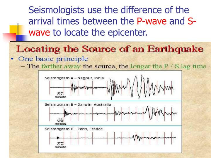 Seismologists use the difference of the arrival times between the