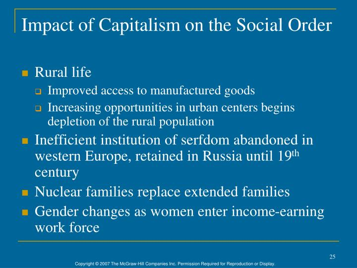Impact of Capitalism on the Social Order
