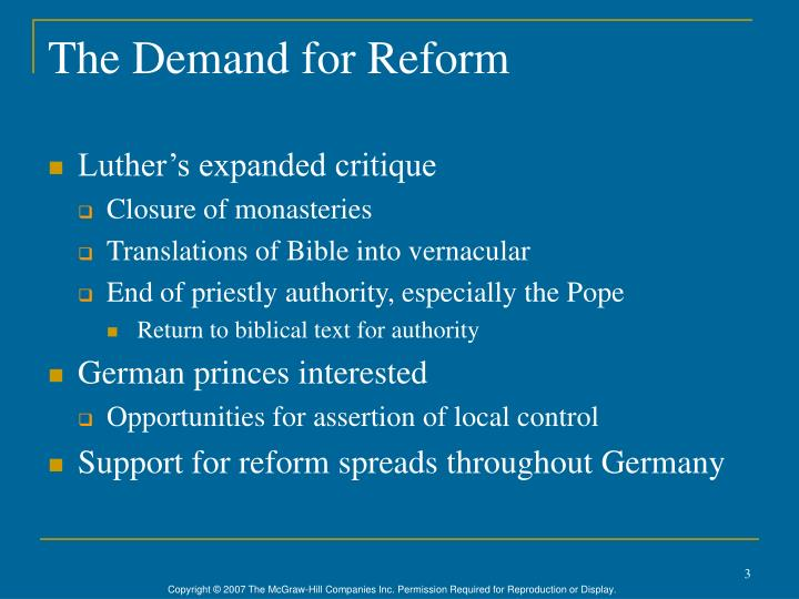 The demand for reform