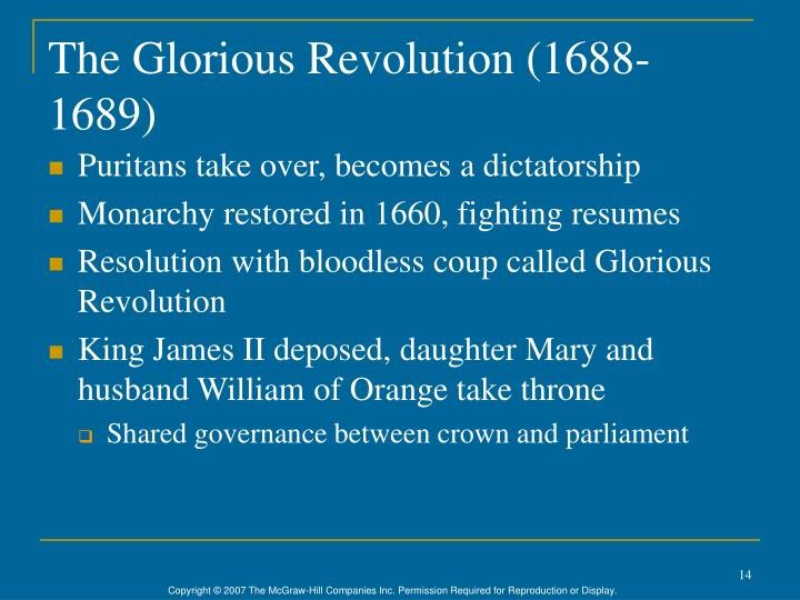 The Glorious Revolution (1688-1689)