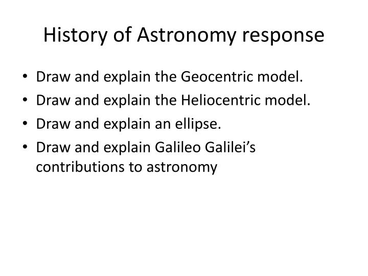 History of Astronomy response
