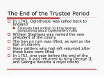 the end of the trustee period