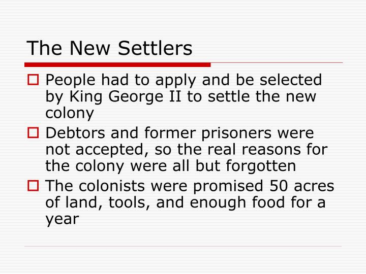 The New Settlers