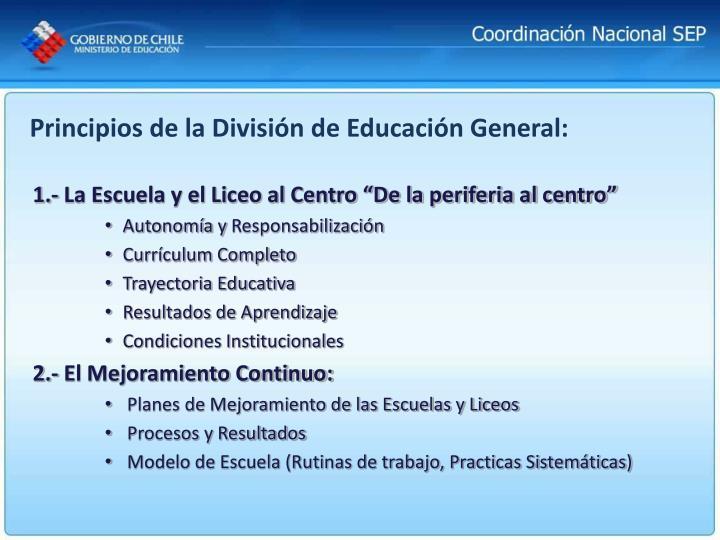 Principios de la División de Educación General: