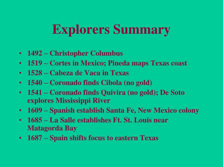 Explorers Summary