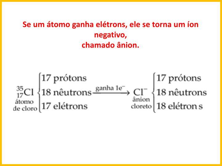 Se um tomo ganha eltrons, ele se torna um on negativo,