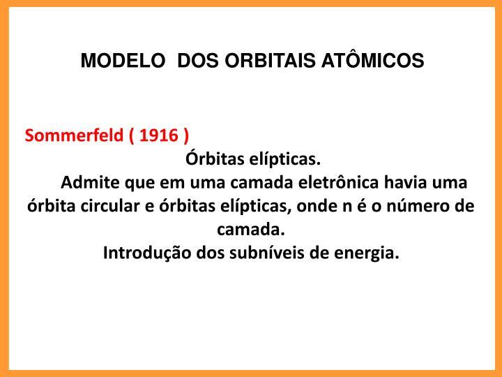 MODELO  DOS ORBITAIS ATMICOS