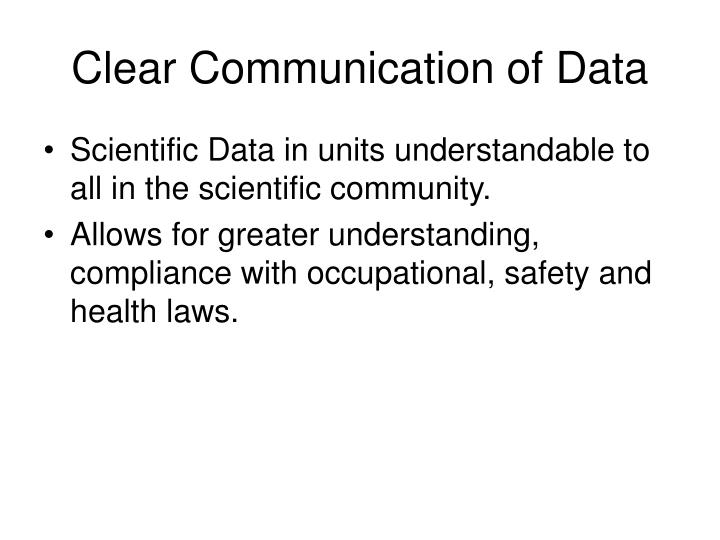 Clear Communication of Data