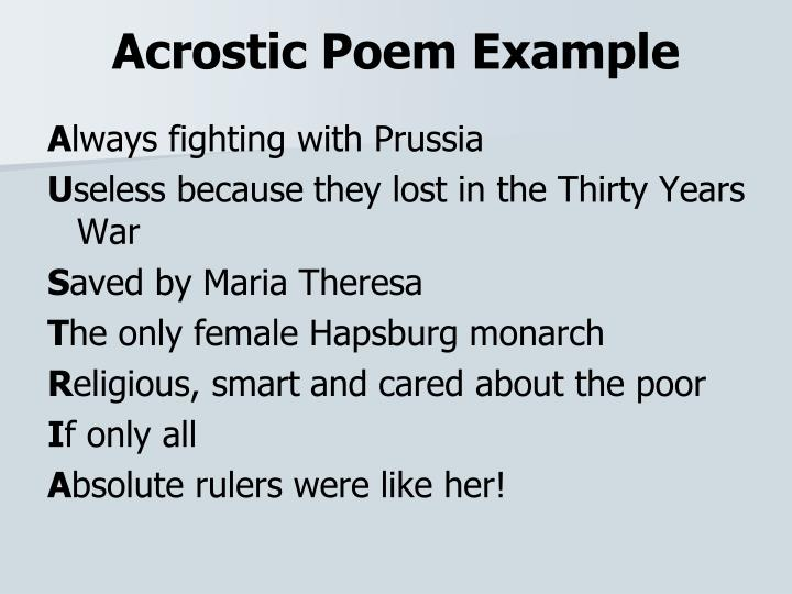 Acrostic Poem Example