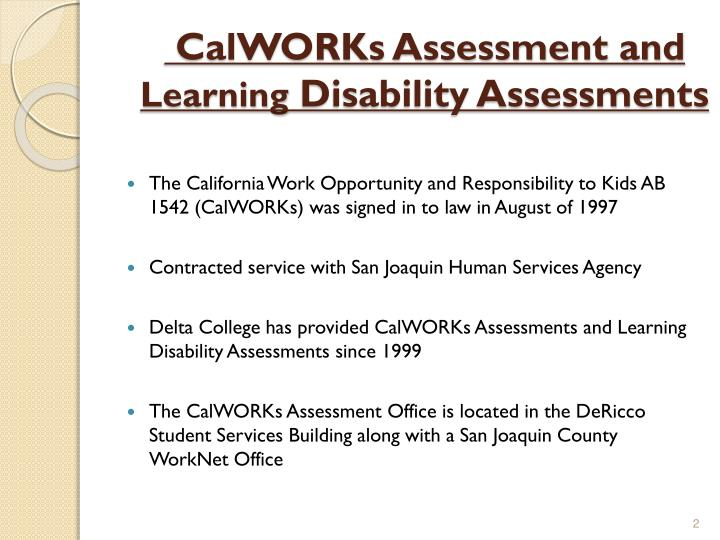 CalWORKs Assessment and