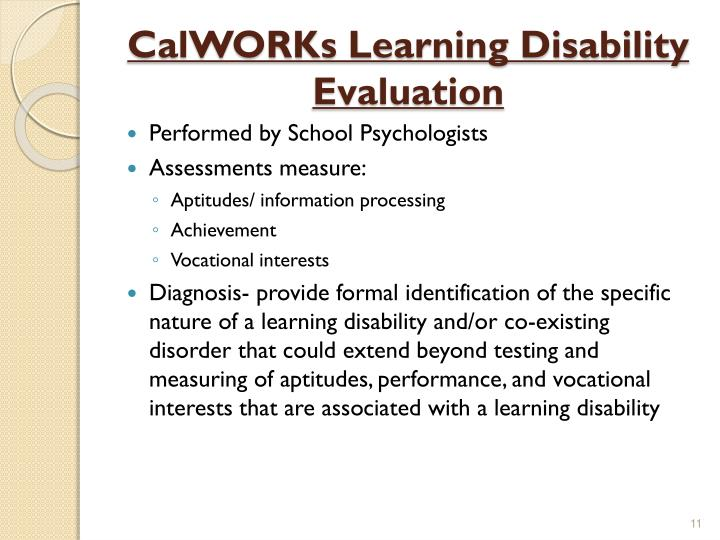 CalWORKs Learning Disability Evaluation
