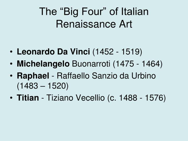 "The ""Big Four"" of Italian Renaissance Art"