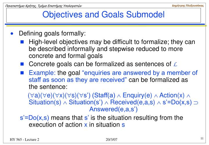 Objectives and Goals Submodel