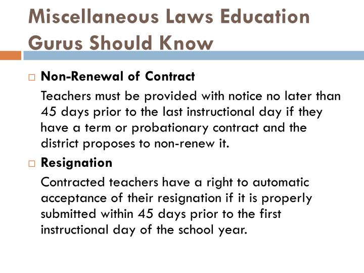 Miscellaneous Laws Education Gurus Should Know