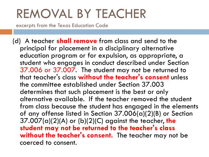 REMOVAL BY TEACHER