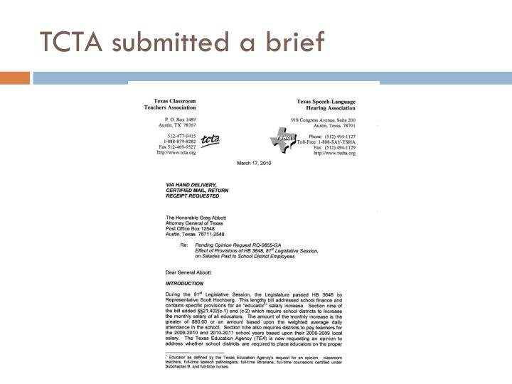 TCTA submitted a brief