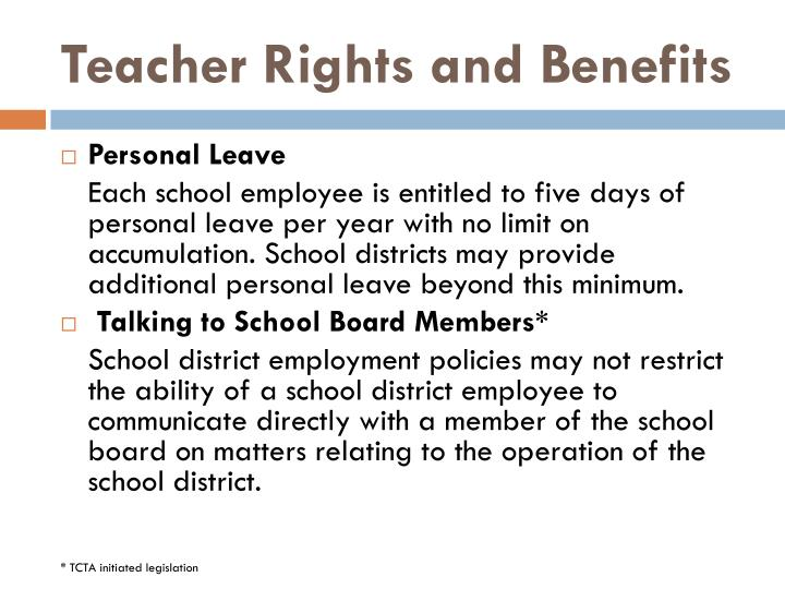 Teacher Rights and Benefits