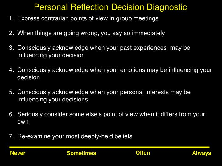 Personal Reflection Decision Diagnostic