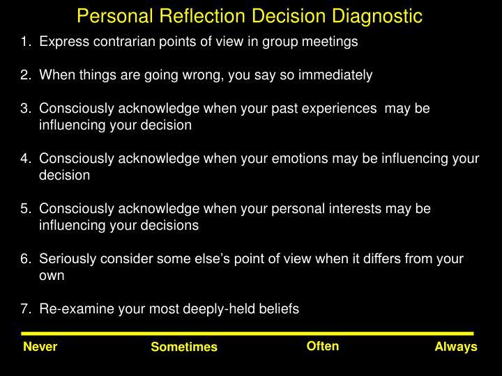 Personal Reflection Decision Diagnostic