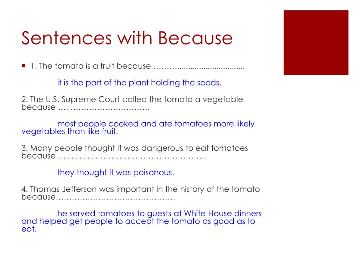Sentences with Because