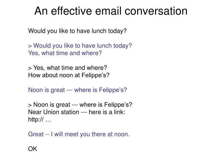 An effective email conversation