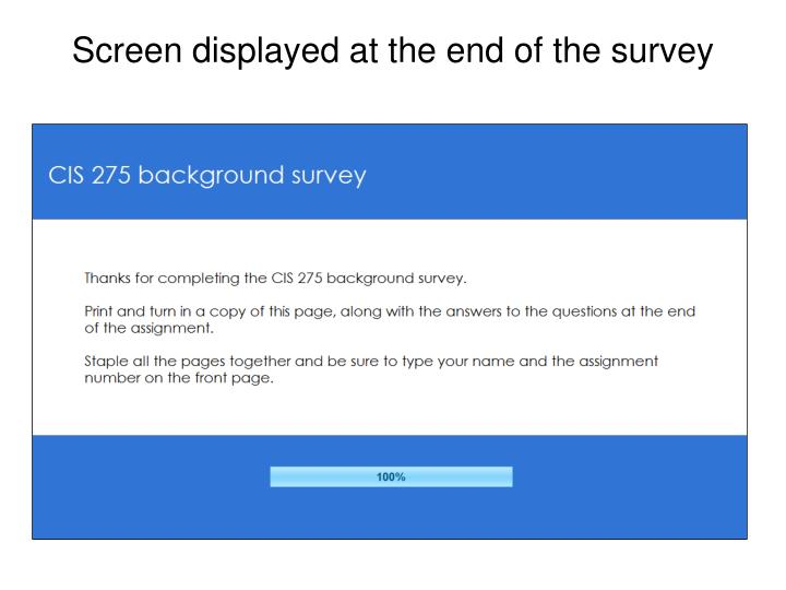 Screen displayed at the end of the survey