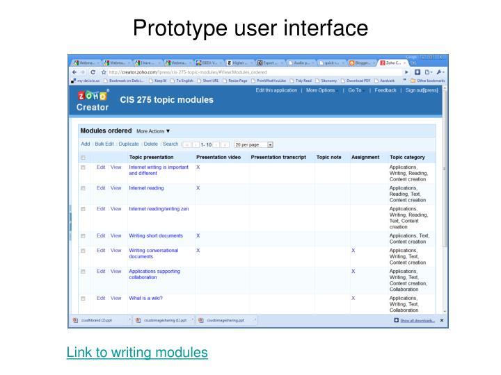 Prototype user interface