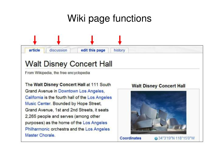 Wiki page functions