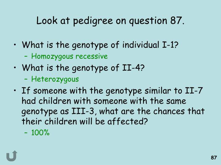 Look at pedigree on question 87.