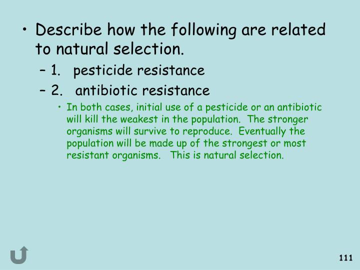Describe how the following are related to natural selection.
