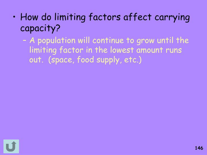 How do limiting factors affect carrying capacity?
