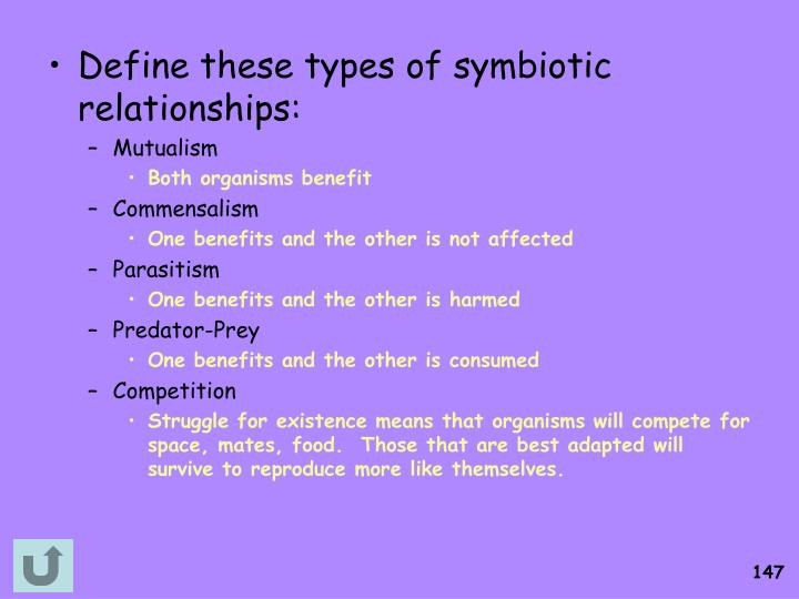 Define these types of symbiotic relationships: