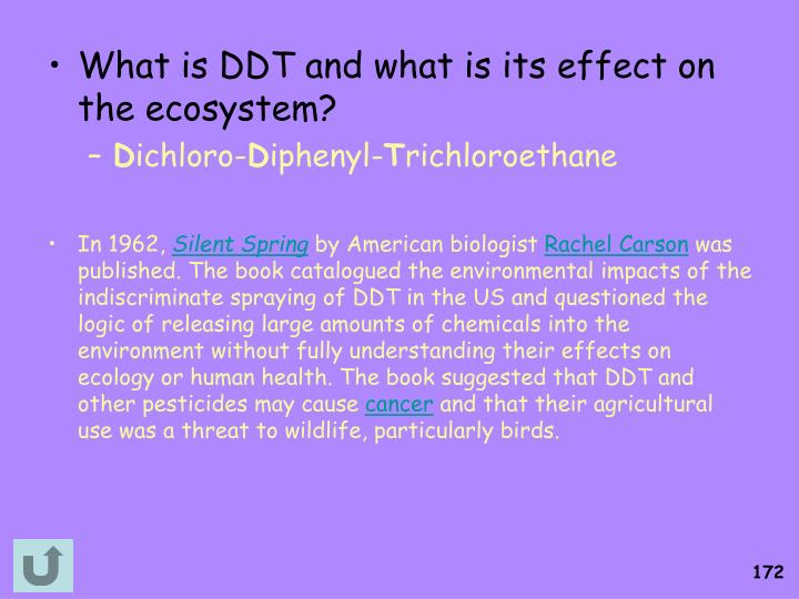What is DDT and what is its effect on the ecosystem?