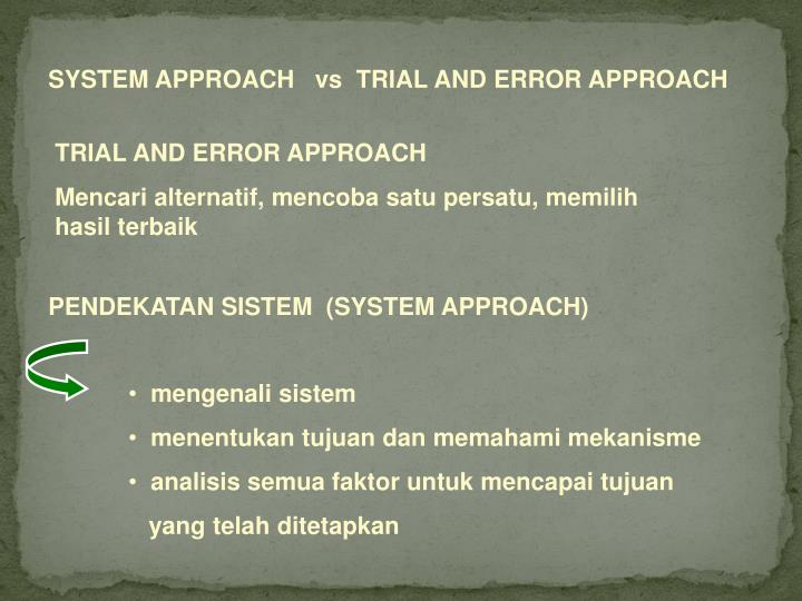 SYSTEM APPROACH   vs  TRIAL AND ERROR APPROACH