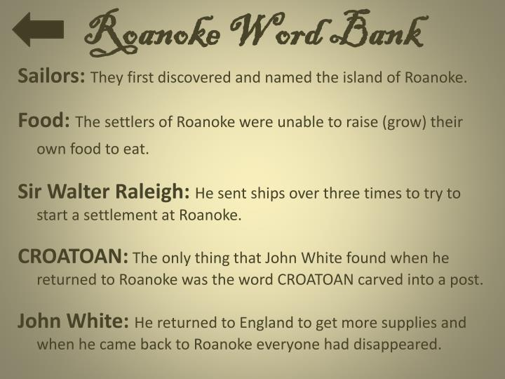 Roanoke Word Bank