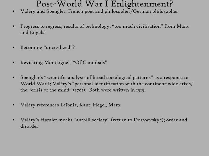 Post-World War I Enlightenment?