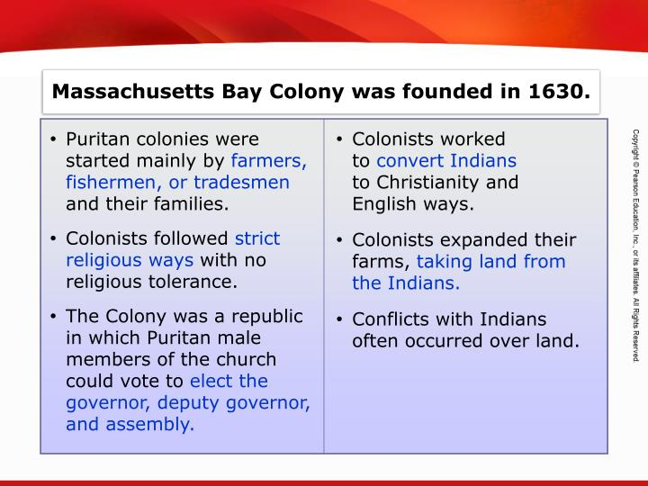 Massachusetts Bay Colony was founded in 1630.