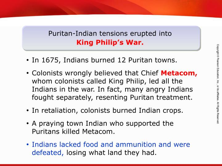 Puritan-Indian tensions erupted into